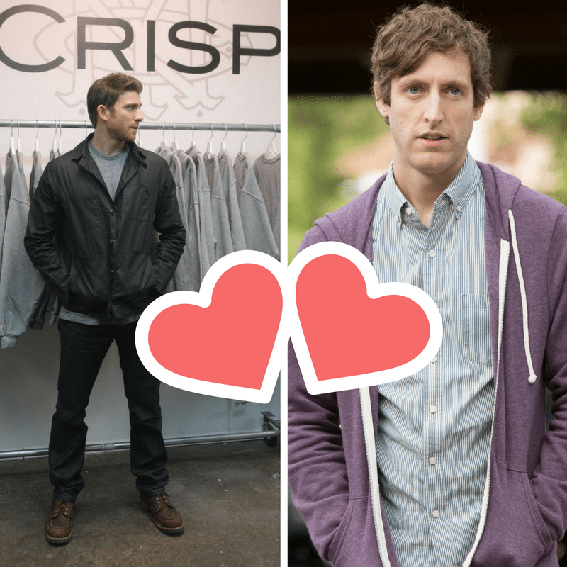 "Richard from HBO's SiliconValley stands next to the guy who owns Crisp from another HBO series - ""How To Make It In America"". There are heart Signs between them, signalling they should work together."